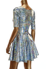 Silver Holographic Half Sleeve Dress - Coquetry Clothing