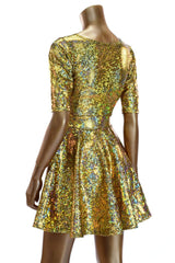 Gold Holographic Half Sleeve Skater Dress - Coquetry Clothing