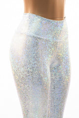 Silvery White High Waist Leggings - Coquetry Clothing