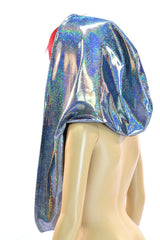 Huge Silver Holographic Festival Hood - Coquetry Clothing