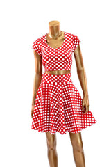 Polka Dot Minnie Skater Skirt & Crop - Coquetry Clothing