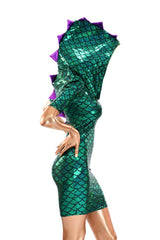 Mardi Gras Sharp Shoulder Dragon Dress - Coquetry Clothing