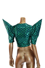Green Scale Sharp Shoulder Crop Top - Coquetry Clothing