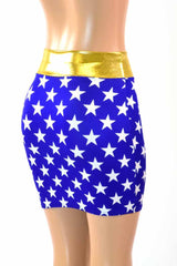 Blue & White Star Super Hero Skirt - Coquetry Clothing