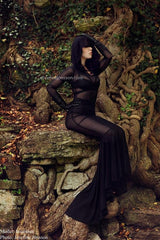 Mesh Puddle Train Gown - Coquetry Clothing
