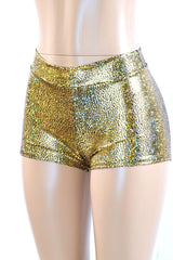 Gold Shattered Glass Midrise Shorts - Coquetry Clothing