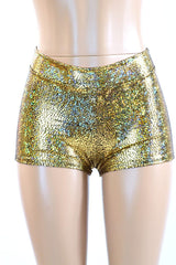Gold Shattered Glass Midrise Shorts