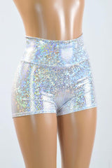 Silvery White High Waist Shorts - Coquetry Clothing