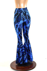 Neon Blue Lightning Bell Bottoms