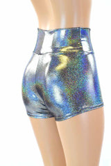 Silver Holographic High Waist Shorts - Coquetry Clothing