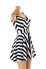 Black & White Striped Skater Dress - Coquetry Clothing