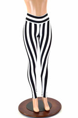 Black & White Striped Leggings - Coquetry Clothing