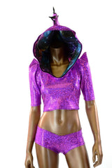 Purple Crop Hoodie & Cheeky Set