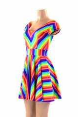 Rainbow Skater Dress - Coquetry Clothing