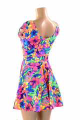 Tahitian Floral Skater Dress - Coquetry Clothing