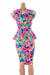 Tahitian Floral Peplum & Skirt Set - Coquetry Clothing