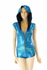 Turquoise Holographic Hoodie Romper