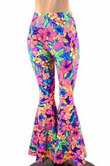 Tahitian Floral High Waist Bell Bottom Flares - Coquetry Clothing