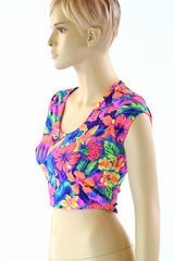 Tahitian Floral Cap Sleeve Crop - Coquetry Clothing