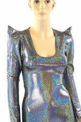 Silver Holographic Sharp Shoulder Catsuit