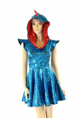 Turquoise & Red Skater Dress - Coquetry Clothing