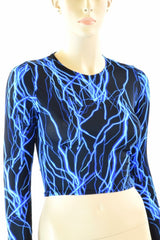 Neon Blue Lighting Crop Top - Coquetry Clothing