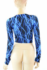 Neon Blue Lightning Crop Top - Coquetry Clothing