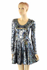 Holographic Long Sleeve Skater Dress - Coquetry Clothing