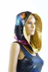 Short Festival Hood in Galaxy & Gold - Coquetry Clothing