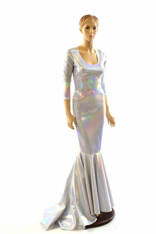 Flashbulb Holographic Puddle Train Gown Coquetry Clothing