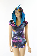 Galaxy & Blue Hoodie Romper - Coquetry Clothing
