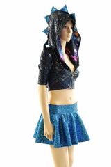 Black & Aquamarine Dragon Hoodie Skirt Set - Coquetry Clothing