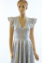 Full Length Holographic Circle Cut Gown with Train - Coquetry Clothing