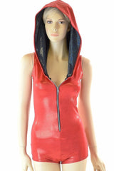 Red Metallic Zipper Hoodie Romper - Coquetry Clothing