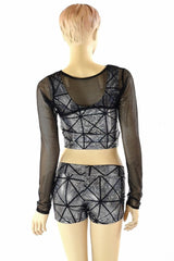 3PC Black & Silver Mesh Bolero Set