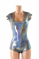 Silver Holographic Romper - Coquetry Clothing