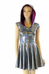 Silver & Fuchsia Zippered Skater Dress