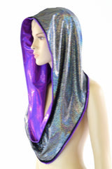 Grape & Silver Reversible Infinity Festival Hood - Coquetry Clothing