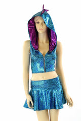 Turquoise Crop & Rave Skirt Set - Coquetry Clothing