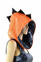 Orange & Black Short Festival Hood - Coquetry Clothing
