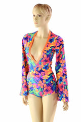 Tahitian Floral Plunging V Romper - Coquetry Clothing