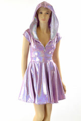 Lilac Holographic Hooded Skater Dress - Coquetry Clothing