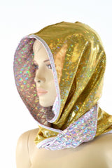 Gold & Pink Scale Reversible Infinity Festival Hood - Coquetry Clothing