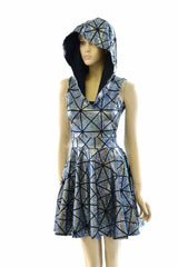 Cracked Tiles Hoodie Skater Dress