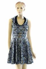 Cracked Tiles Hoodie Skater Dress - Coquetry Clothing