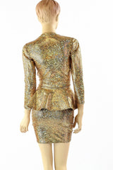 Gold Peplum Skirt Set