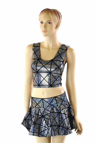 Cracked Tiles Crop & Skirt Set - Coquetry Clothing