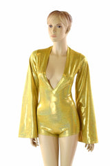 Gold Plunging V Bell Sleeve Romper - Coquetry Clothing