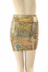 Gold Shattered Glass Bodycon Skirt - Coquetry Clothing