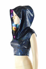 Black Holographic Galaxy Crop Hoodie - Coquetry Clothing